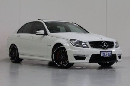 2012 Mercedes-Benz C63 W204 MY12 AMG White 7 Speed Automatic G-Tronic Sedan Bentley Canning Area Preview