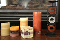 Word Adorned Candle, Wood & Iron Candle Holder & Others For $10