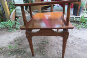 Mid century solid walnut sculpted side table