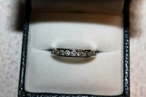 Ladies 925 Silver Eternity Band With Lots of Glitter