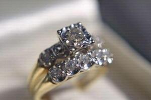 **MINT** 14K Gold 1.00ct Ladies Diamond Wedding Ring Set- Size 7