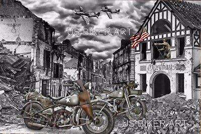 HARLEY DAVIDSON WLA MOTORCYCLES/ P51 MUSTANGS WORLD WAR 2 ART PRINT