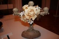 Beautiful Candlestick with Three Branches Ornament Beige Flower