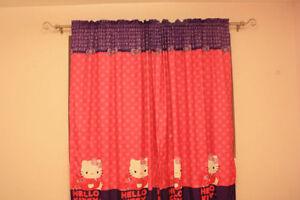 hello kitty curtain, wall lamp, wall storage...