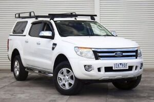 2014 Ford Ranger PX XLT Double Cab 4x2 Hi-Rider White 6 Speed Manual Utility