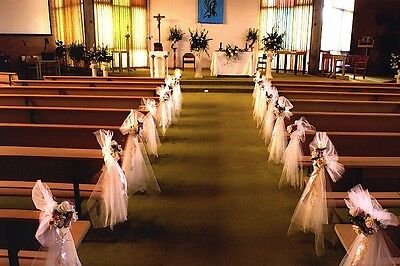 How to decorate church pews with tulle for a wedding ebay junglespirit Image collections