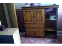 solid wood furniture 4 drawer 2 cupboard cabinet currently used for stationery in office