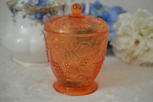 Orange Glass Covered Candy Dish
