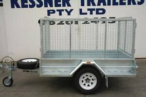 7X4 COMMERCIAL GALVANISED SINGLE AXLE TRAILER WITH CAGE AND RAMPS Pooraka Salisbury Area Preview