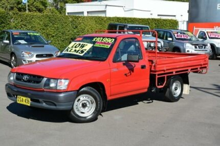 2004 Toyota Hilux RZN149R MY04 Red 5 Speed Manual Cab Chassis New Lambton Newcastle Area Preview