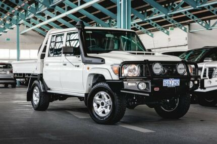 2018 Toyota Landcruiser VDJ79R GXL Double Cab White 5 Speed Manual Cab Chassis Welshpool Canning Area Preview
