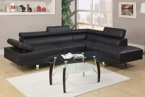 NEW Black leather Adjustable Sectional Sofa! Same Day Delivery!