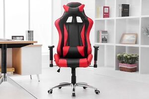 NEW+IN BOX Black and Red Leather Chair