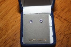 Beautiful 14k gold tanzanite stud earrings. London Ontario image 3