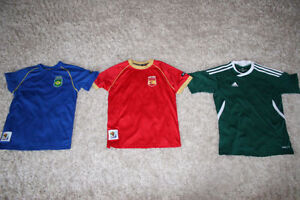 3x Youth Small Soccer Shirts - Brazil, Spain, Adidas
