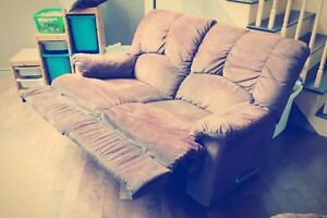Two loveseats sofa recliners
