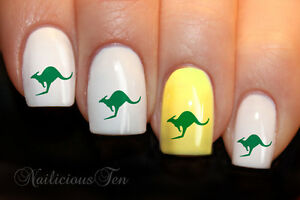 Green-Gold-Kangaroo-Nail-Art-Wraps-Water-Transfers-24pcs-Decals-Australia-8009
