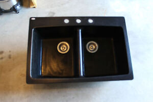 Black granite kitchen double sink - drains, faucet, garburator