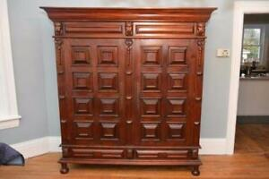 Very Large Majestic Solid Mahogany Wardrobe -  75 W (over 6 feet wide) x 25.5D x 79H (6.5 feet tall)