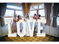 "Hire our Stunning 4ft tall Light Up ""LOVE"" Letters for your special day £150"