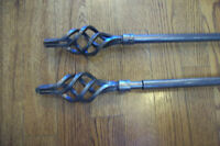 Set of 2 Antique Brass Curtain Rods