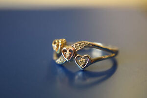 .10K Ring with Rose, White and Yellow Gold Hearts and Diamonds**