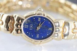 NEW MOVADO-ESQ LADIES GOLD MICRO PLATED WITH LAPIS & ONYX DIAL