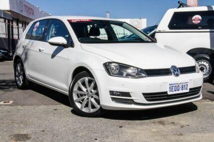 2014 Volkswagen Golf AU MY14 110 TDI Highline Pure White 6 Speed Direct Shift Hatchback