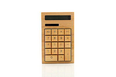 Spespo Handmade Bamboo Wooden Calculator Solar Power 12 Digits Calculator