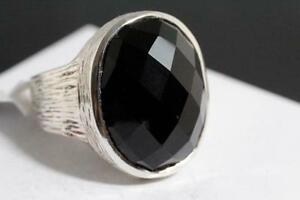 LARGE CUSHION CUT BLACK ONYX & SOLID SILVER RING FOR SALE