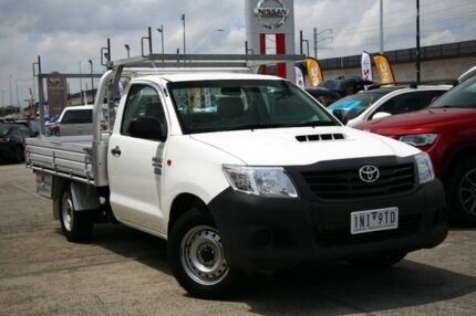 2014 Toyota Hilux KUN16R MY14 Workmate 4x2 White 5 Speed Manual Cab Chassis Frankston Frankston Area Preview