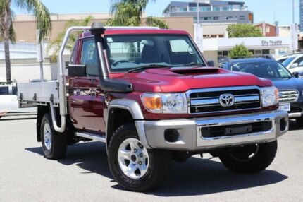 2017 Toyota Landcruiser VDJ79R MY18 GXL (4x4) Merlot Red 5 Speed Manual Cab Chassis Northbridge Perth City Area Preview