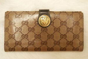 Gucci Patent Leather continental canvas wallet : Brown & Gold