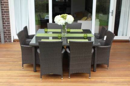 WICKER OUTDOOR DINING FURNITURE SETTING,8 SEATS, EUROPEAN STYLED