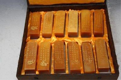 Set of 12 Chinese Zodiac Shoushan Sealstone,