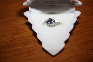 Sapphire/cubic zirc ring, 75% off