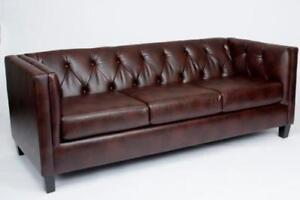 LEATHER COUCH ON SALE  (ND 137)