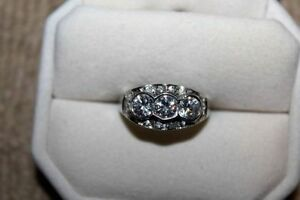 Past, Present and Future 14K White Gold Over 925 Silver Ring