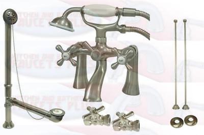Brushed Satin Nicke Deck Mount Clawfoot Tub Faucet  - Drain - Supplies - - Deck Mount Clawfoot Tub