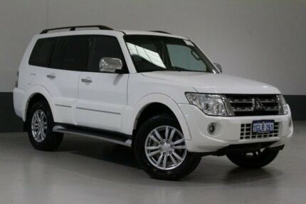 2014 Mitsubishi Pajero NW MY14 Exceed LWB (4x4) Pearl White 5 Speed Auto Sports Mode Wagon Bentley Canning Area Preview