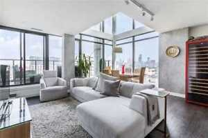 Stunning 1341 Sq.Ft 3 Bed 2 Storey Loft In King West !