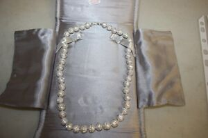 Sterling silver natural pearl and cubic chrystals necklace. London Ontario image 3