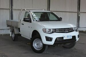 2013 Mitsubishi Triton MN MY13 GLX White 4 Speed Sports Automatic Cab Chassis Derwent Park Glenorchy Area Preview