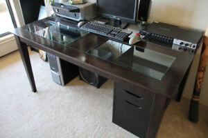 Computer, Table, Sound System and Printer