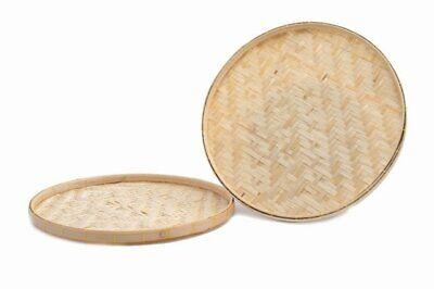 Bamboo winnowing Basket Tray Thai Decor Vintage rattan woven wicker Handcraft