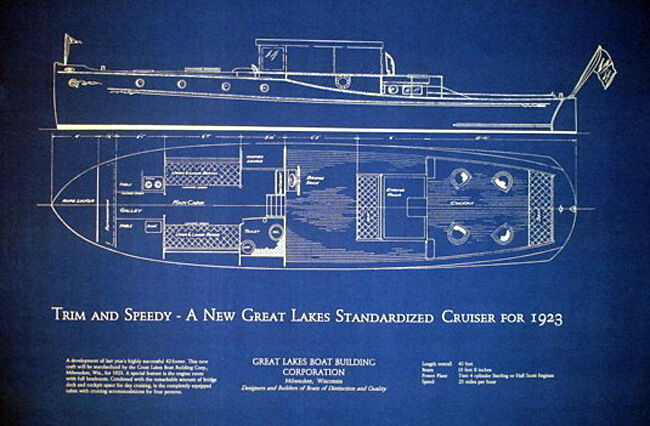 Classic Great Lakes 45 ft Cruiser Yacht 1923 Blueprint Plan 18x30   (164)