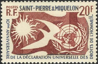 St Pierre & Miquelon 1958 Human Rights/Dove/Sun/UN/Animation/Birds 1v (n36888)