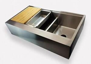 "Seamless - 1/2"" RADIUS 39"" LEDGE APRON FRONT DOUBLE BOWL SINK"