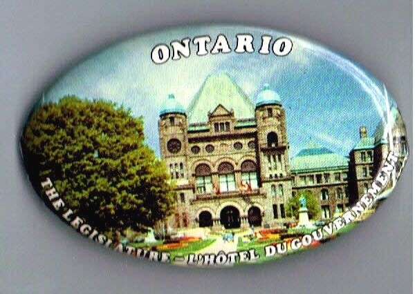 Ontario Legislature Building Pinback Button French Canada Government Advertising