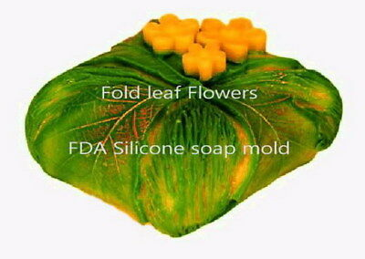 Folded Leaf w/Flower, soap mold, leaf silicone mold, resin mold, candle mold